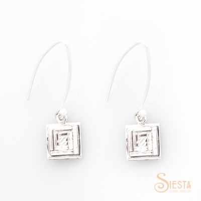 Siesta SS Mini Log Cabin Earrings on Log Wire