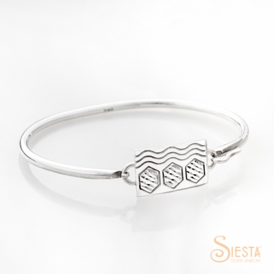 Siesta Silver Convertible Bangle Center Piece Sexy Hexie