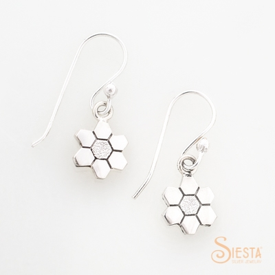 Siesta Silver Grandmothers Flower Garden Earrings on Hook