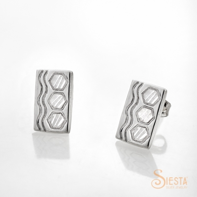 Siesta Silver Sexy Hexie Earrings on Post