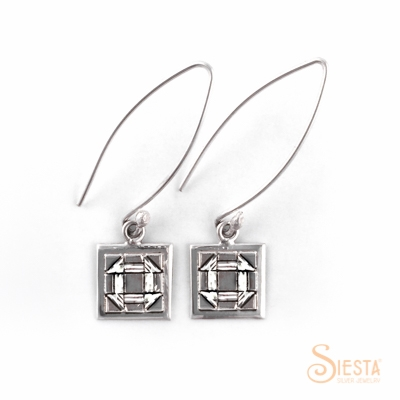 Siesta Silver Sterling Silver Churn Dash Earrings on Wire
