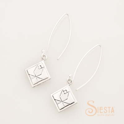 Siesta Sterling Silver Tulip Earrings on Long Wire
