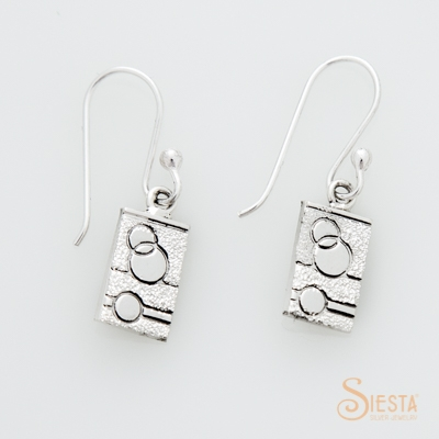 Sterling Silver Glitzy Sister Modern Quilt Designs Earrings on Hook