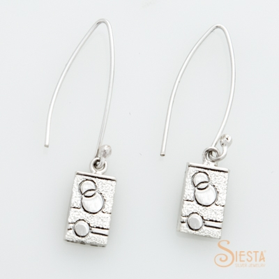 Sterling Silver Glitzy Sister Modern Quilt Designs Earrings on Wire