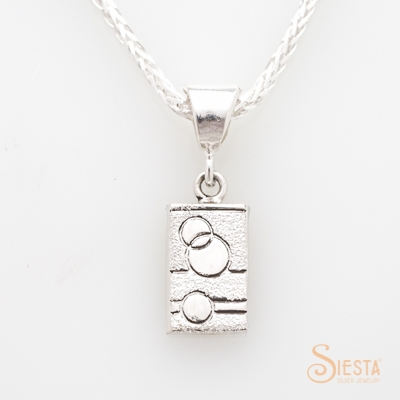 Sterling Silver Glitzy Sister Modern Quilt Mini Charm:Pendant