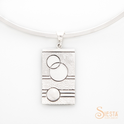 Sterling Silver Glitzy Sister Modern Quilt Pendant - Large