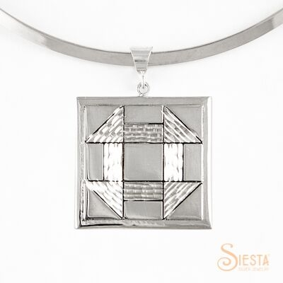 Sterling Silver Large Churn Dash Pendant