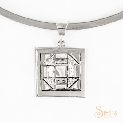 Sterling Silver Medium Churn Dash Pendant