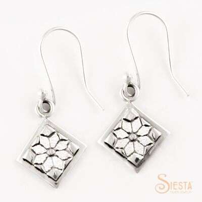 Sterling Silver Mini Dresden Plate Earrings on Hook