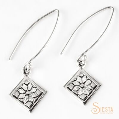 Sterling Silver Mini Dresden Plate Earrings on Long Wire