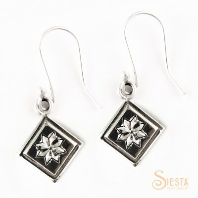 Sterling Silver Mini Lemoyne Star Earrings on Hook