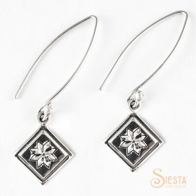 Sterling Silver Mini Lemoyne Star Earrings on Long Wire