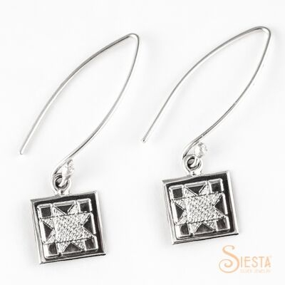 Sterling Silver Mini North Star Earrings on Long Wire