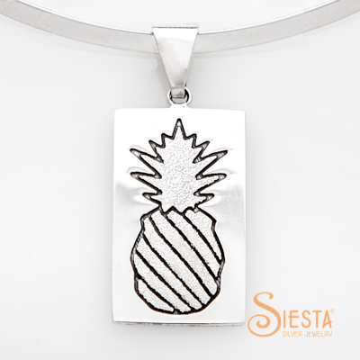 Crowned Pineapple Large Quilt Jewelry Pendant